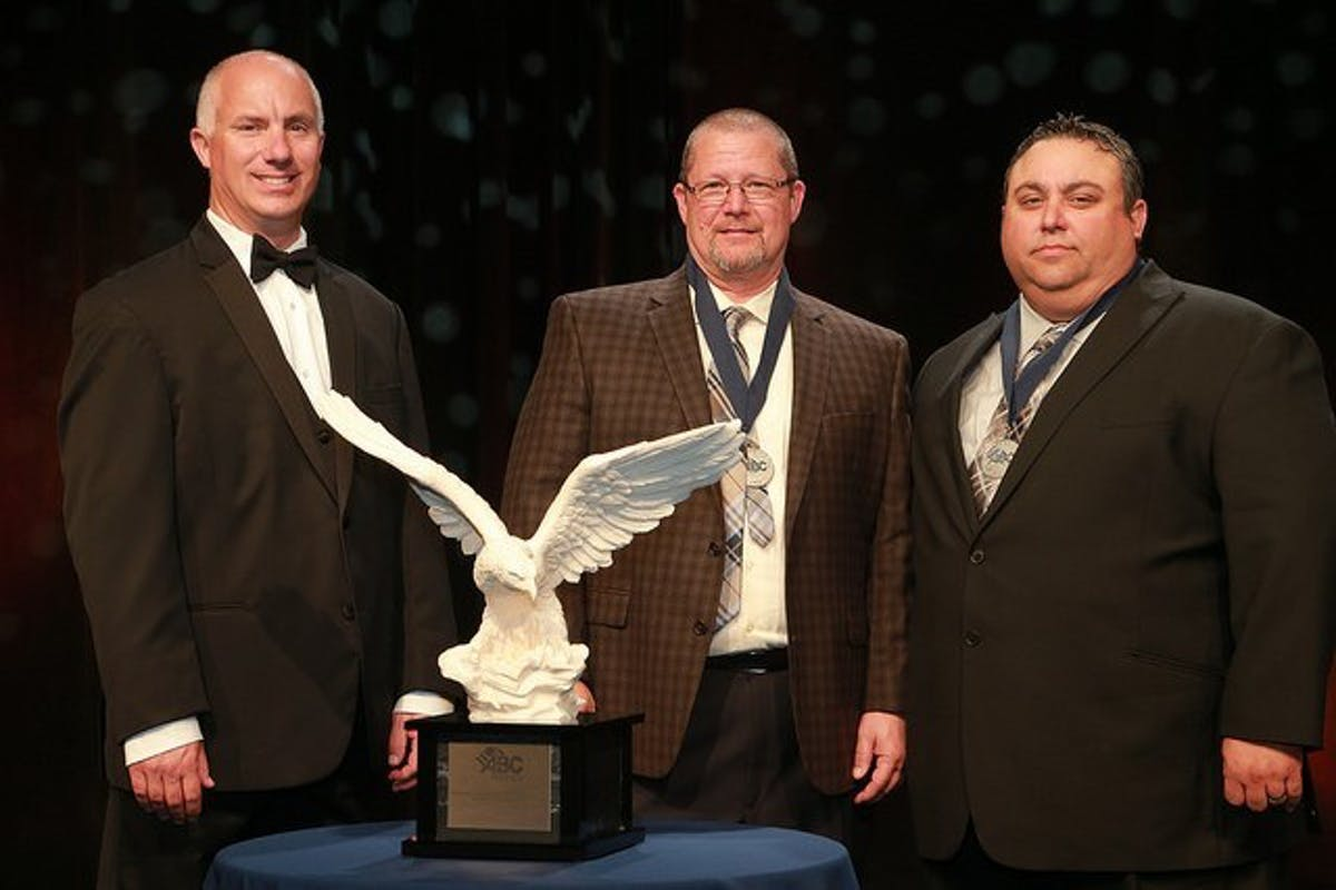 MMR Receives ABC National Excellence in Construction Eagle Award for the BASF Solitaire Project/BASF Geismar Surfactants Plant Expansion. Pictured (l-r): David Chaplin, 2016 ABC National Board Chair; Randy Metz, BASF; and Mike Gomez, MMR District HS&E Coordinator